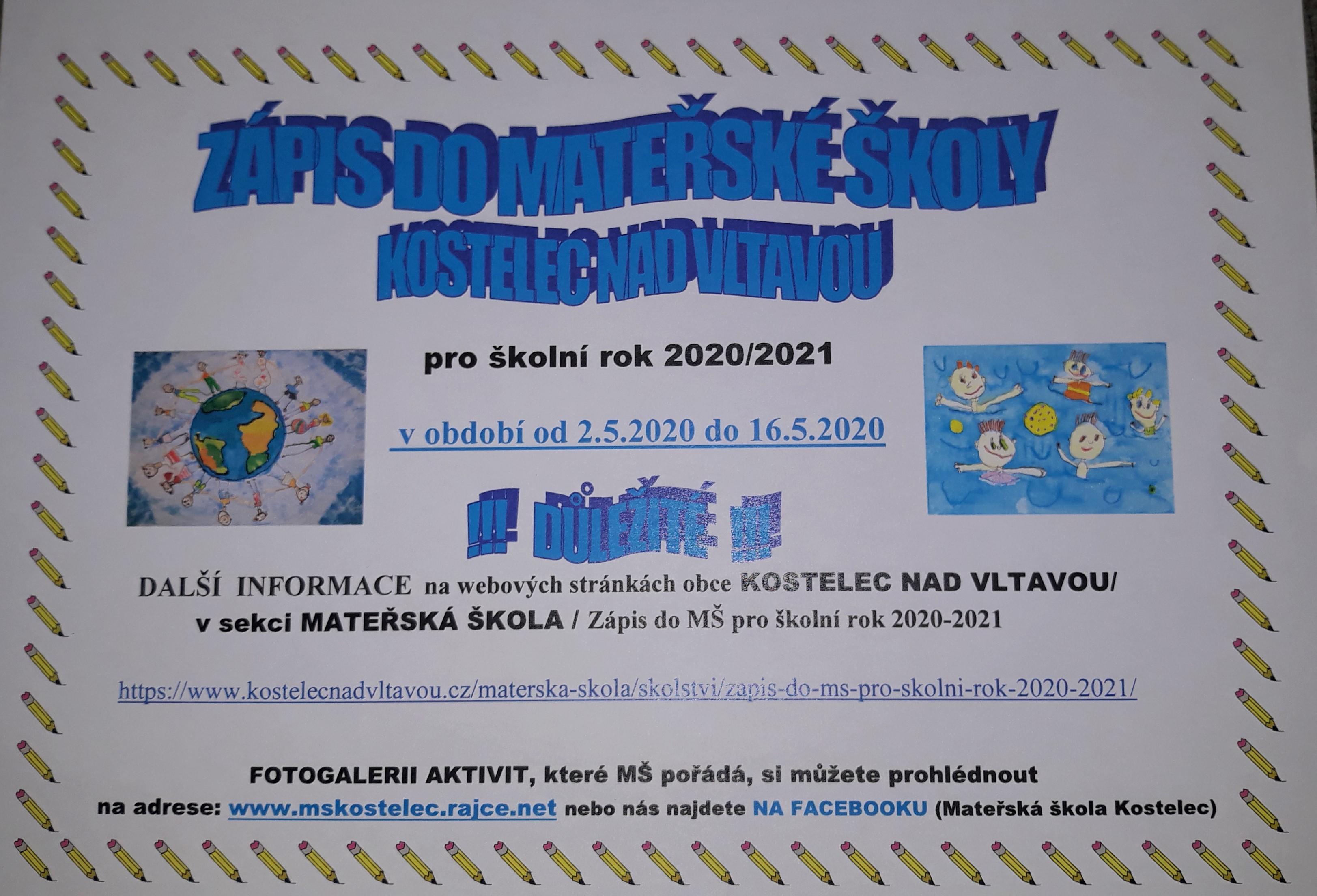 Zápis dětí do Mateřské školy Kostelec nad Vltavou
